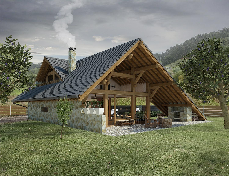 Diseño casa moderna rústica